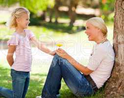 Daughter offering a flower to her mother