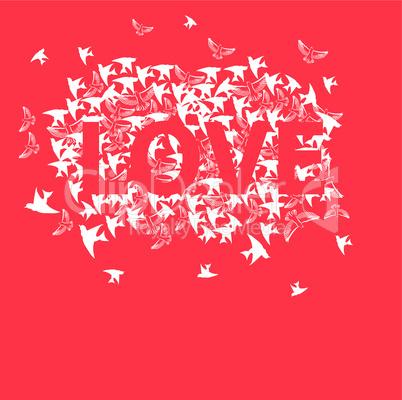 Inscription Love with bird