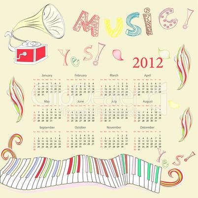 Original calendar for 2012