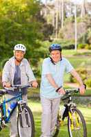 Mature couple with their bikes