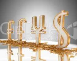 Focus on Euro. Golden Currency signs