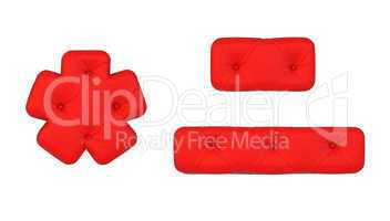 Luxury red leather font hyphen and asterisk
