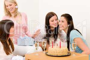 Birthday party - woman getting present, celebrating