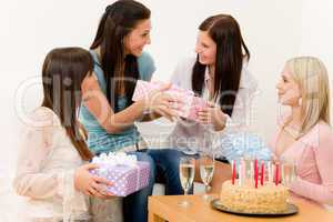 Birthday party - woman getting present, surprise