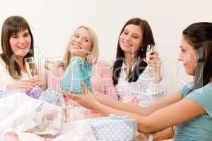 Birthday party - woman unwrap present, celebrate