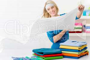 Laundry - woman folding clothes