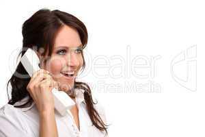 lachende Frau mit Telefon