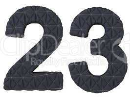 Stitched leather font 2 3 numerals isolated
