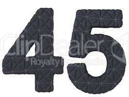 Stitched leather font 4 5 numerals