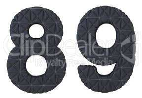 Stitched leather font 8 9 numerals