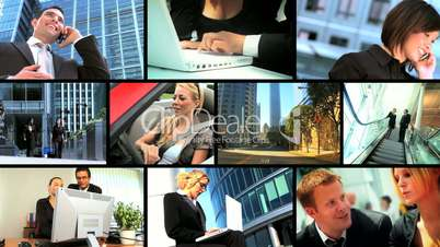 Montage of Business People Using Wireless Communication