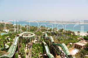 DUBAI, UAE - AUGUST 28: The Aquaventure waterpark of Atlantis th