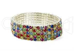 Silver bracelet with colour jewels