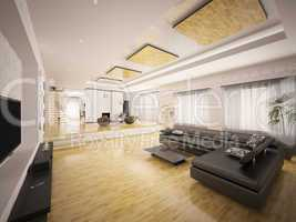 Interior of modern apartment 3d render