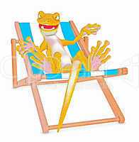 gecko beim sonnenbaden