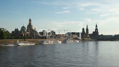 Canalettoblick Carolabrücke Dresden Elbe Zeitraffer