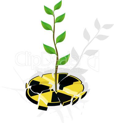 Zerbrochene Radioaktivität mit Pflanze