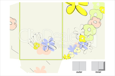 Template for folder design with flowers