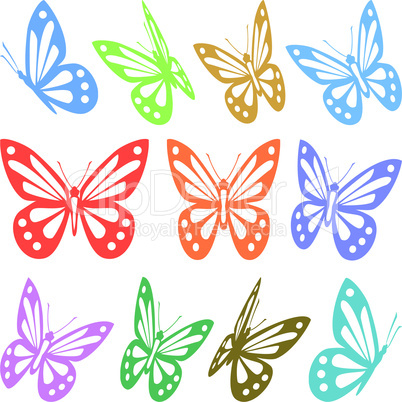 Set of colorful butterfly silhouettes