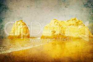 grunge image of beach in algarve, portugal