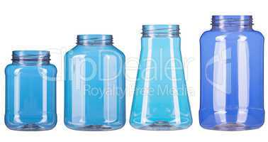 Four different type of plastic pot isolated