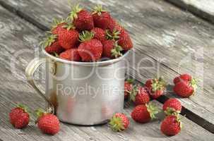 garden strawberries in mug