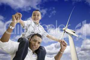 Happy Hispanic Father and Son with Wind Turbine
