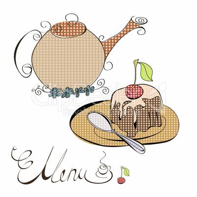 Menu with cake and teapot