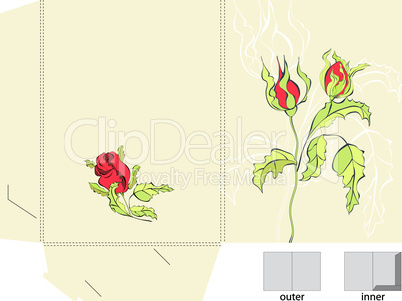Template for folder with roses