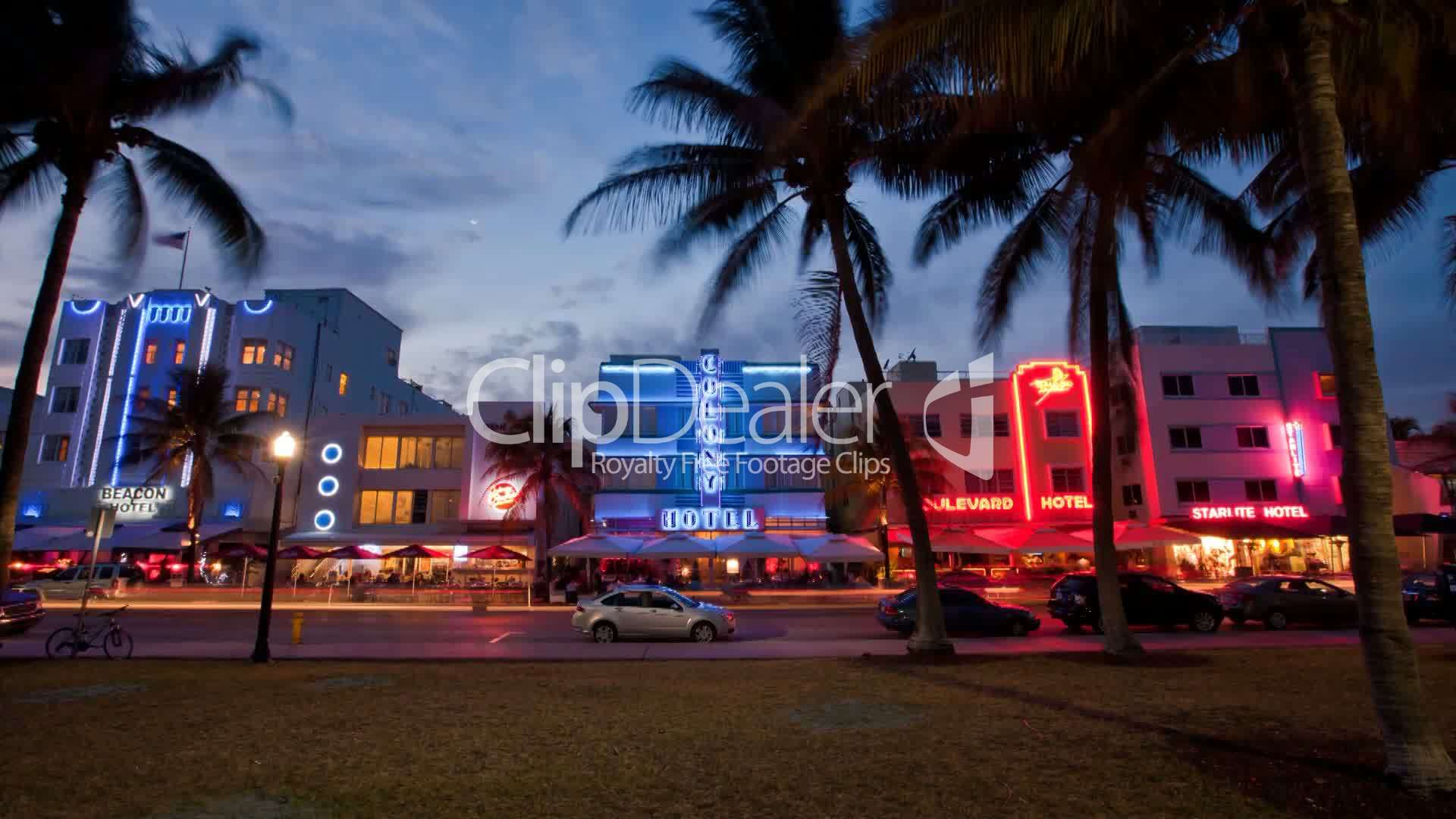 Florida Dealer License >> Miami Beach Ocean Drive Zeitraffer: Royalty-free video and stock footage
