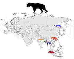Tiger Verbreitungskarte