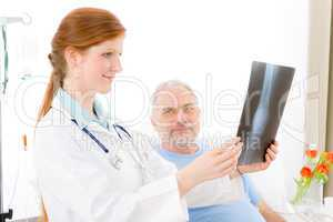 Hospital - female doctor examine patient x-ray