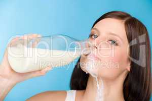 Healthy lifestyle - woman drink milk breakfast