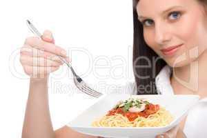 Italian food - healthy woman eat spaghetti sauce
