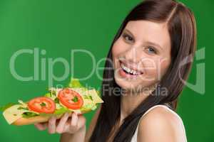 Healthy lifestyle - woman enjoy cheese sandwich