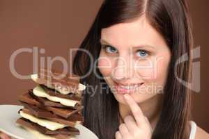 Chocolate - portrait young woman desire