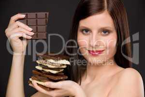 Chocolate - portrait healthy woman enjoy sweets