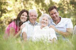 Familie sitzt im Gras