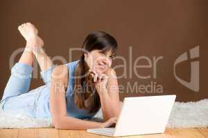 Home study - woman teenager with laptop