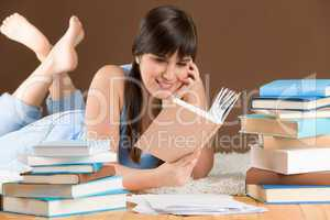 Home study - woman teenager read book