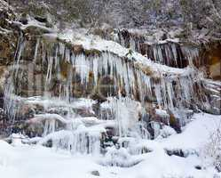 Weeping wall in Smoky Mountains covered in ice