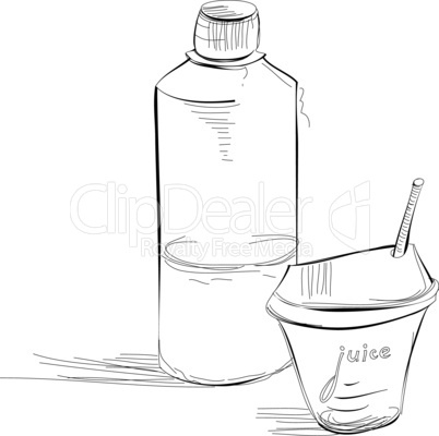 Bottle and glass of juice