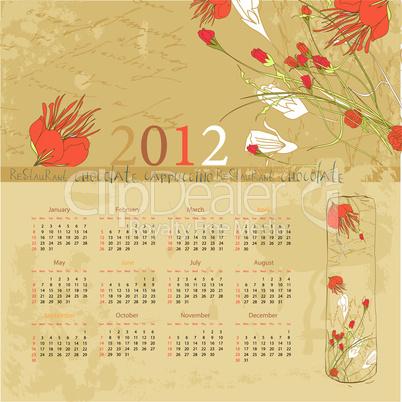 Vintage template for calendar 2012