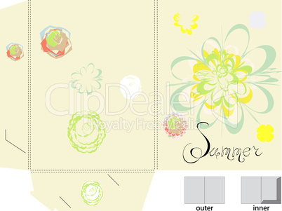 Template for folder with flowers
