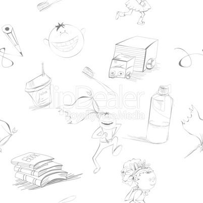 Cartoon style seamless background