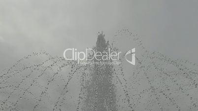 Fountain closeup rainy day