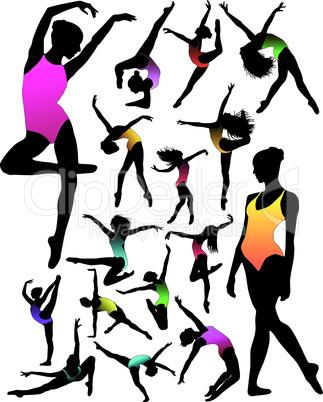Set Dance girl ballet silhouettes vector
