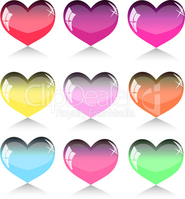 Set of different hearts. vector