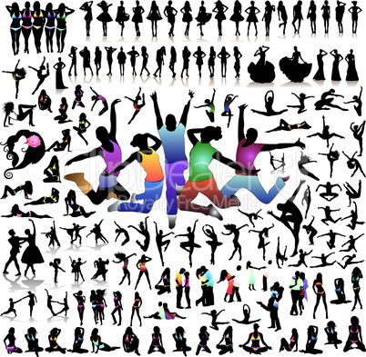 New Big set of vector people silhouettes