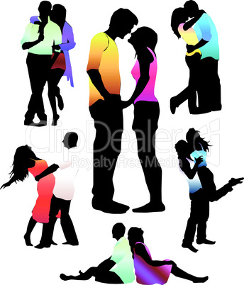 Set of happy love couple silhouettes. Vector Illustration.